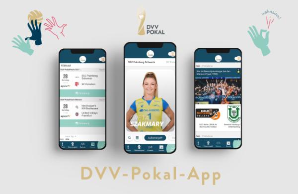 Alle Informationen zum DVV-Pokalfinale 2021 auf einen Blick in der DVV-Pokal-App. (Grafik: VBL)