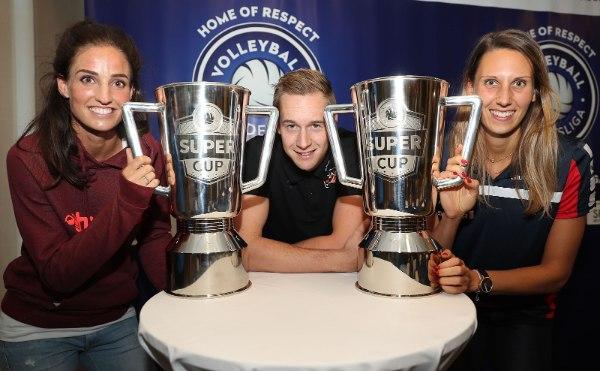 Myrthe Schoot, Sebastian Kühner und Jennifer Pettke freuen sich auf den Volleyball Supercup 2016 (Foto: Photo Wende)